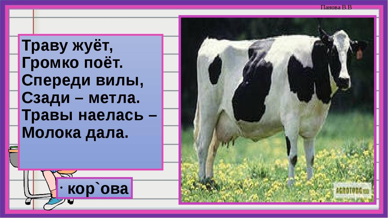 Траву жуёт, Громко поёт. Спереди вилы, Сзади – метла. Травы наелась – Молока...