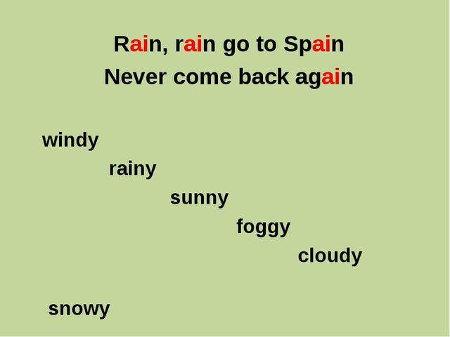 Rain, rain go to Spain Never come back again windy rainy sunny foggy cloudy s...