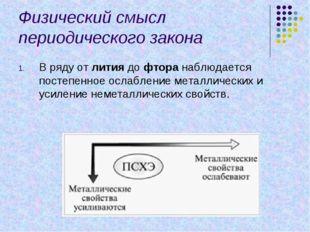 Физический смысл периодического закона В ряду от лития до фтора наблюдается п
