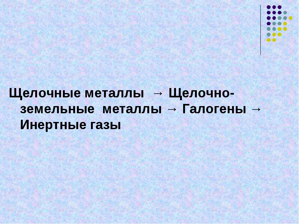 Щелочные металлы → Щелочно- земельные металлы → Галогены → Инертные газы