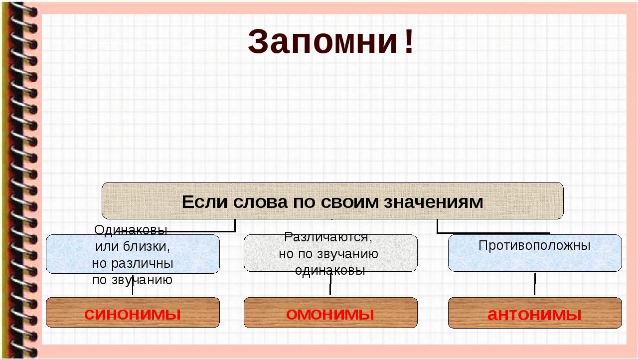 Запомни! Если слова по своим значениям Одинаковы или близки, но различны по з...