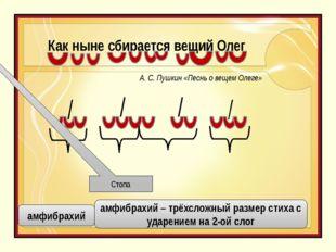 Как ныне сбирается вещий Олег Стопа амфибрахий амфибрахий – трёхсложный разме