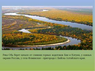 Река Обь берет начало от слияния горных водотоков Бии и Катуни, у южных окраи
