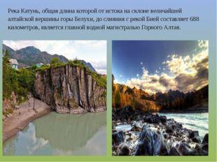 Река Катунь, общая длина которой от истока на склоне величайшей алтайской вер