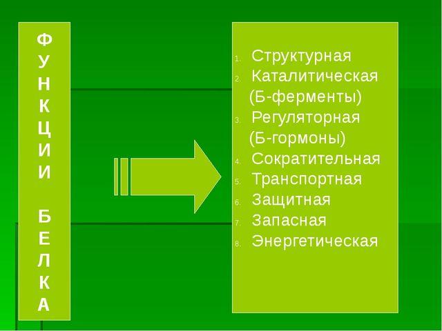 Структурная Каталитическая (Б-ферменты) Регуляторная (Б-гормоны) Сократитель...