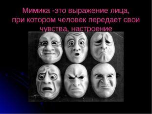 Мимика -это выражение лица, при котором человек передает свои чувства, настро