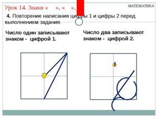 4. Повторение написания цифры 1 и цифры 2 перед выполнением задания. МАТЕМАТ