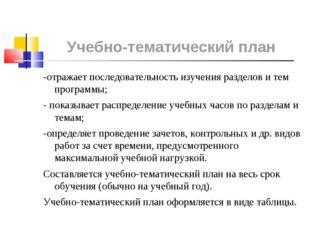 -отражает последовательность изучения разделов и тем программы; -отражает по