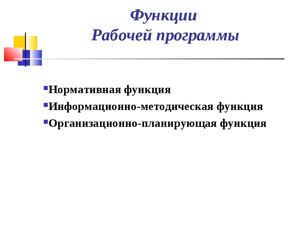 Нормативная функция Нормативная функция Информационно-методическая функция...