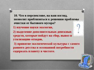 10. Что в перспективе, на ваш взгляд, позволит приблизиться к решению проблем