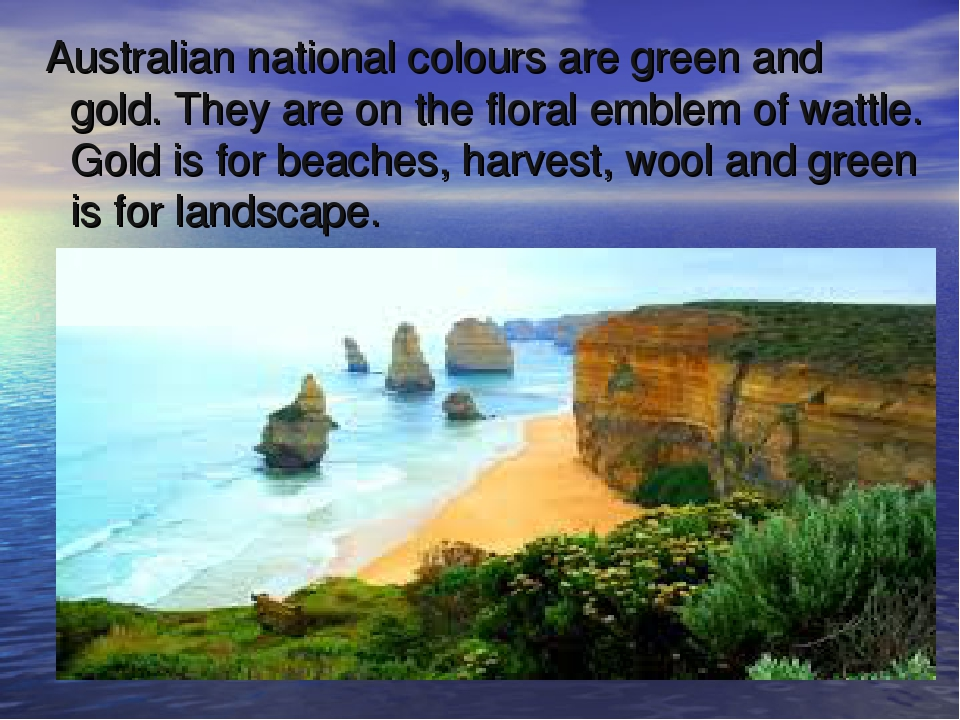 Australian national colours are green and gold. They are on the floral emble...
