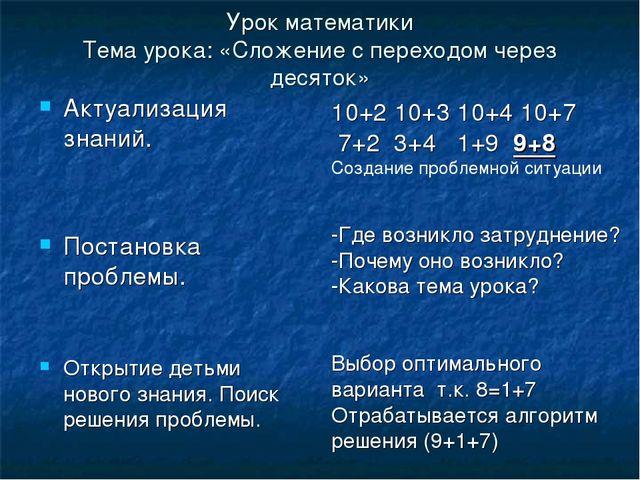 Урок математики Тема урока: «Сложение с переходом через десяток» Актуализация...