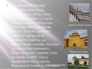 Борисоглебская башня Ивановская башня При Иване III Нижний Новгород играет ро