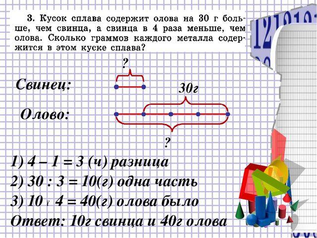 1) 4 – 1 = 3 (ч) разница 2) 30 : 3 = 10(г) одна часть Ответ: 10г свинца и 40...