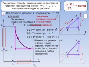 Рассмотрим способы решения задач на построение графиков изопроцессов в осях Р