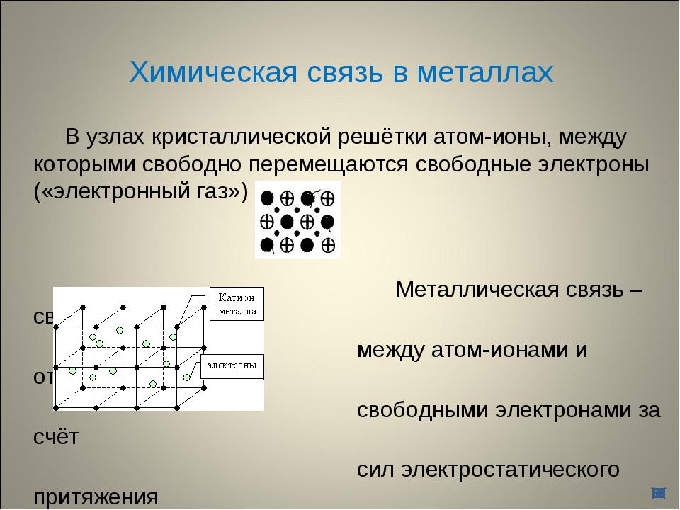 Химическая связь в металлах В узлах кристаллической решётки атом-ионы, между...