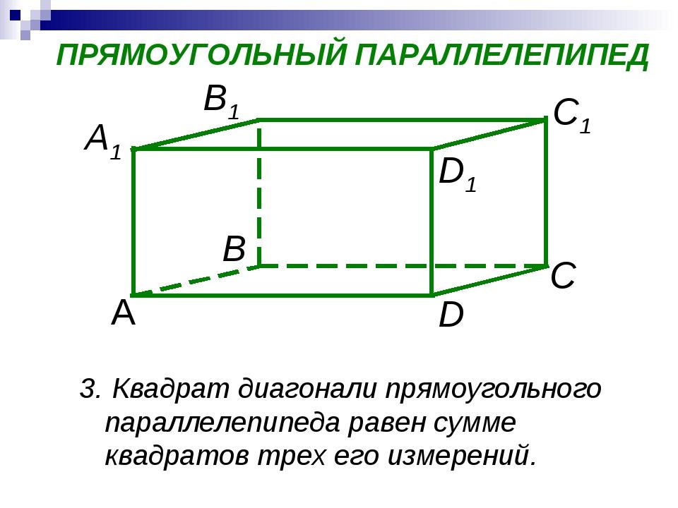 D А C1 В С A1 D1 B1 ПРЯМОУГОЛЬНЫЙ ПАРАЛЛЕЛЕПИПЕД Квадрат диагонали прямоуголь...