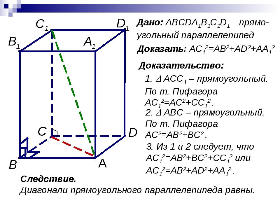 Доказать: AC12=AB2+AD2+AA12 Доказательство: 2.  ABC – прямоугольный. По т. П...