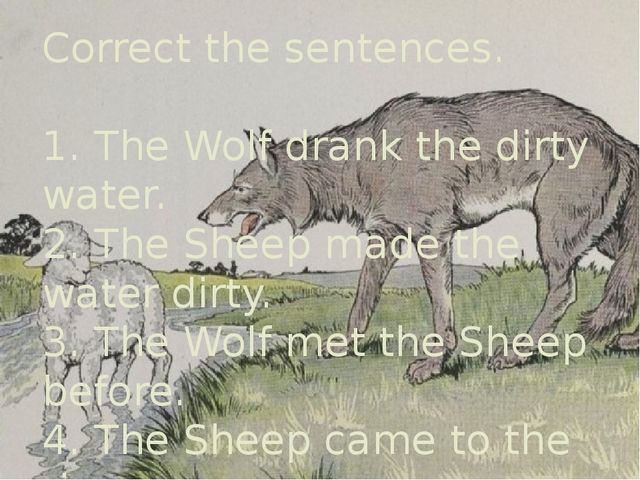 Correct the sentences. 1. The Wolf drank the dirty water. 2. The Sheep made t...