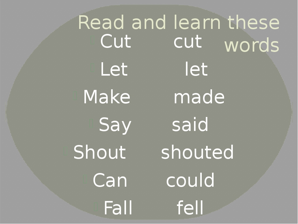 Read and learn these words Cutcut Let let Make made Saysaid Shout...