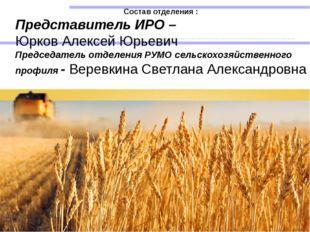 Состав отделения : Представитель ИРО – Юрков Алексей Юрьевич Председатель о