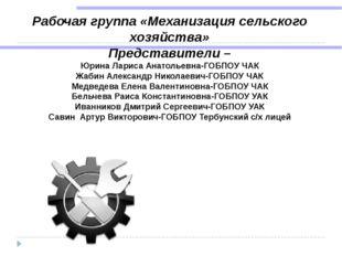 Рабочая группа «Механизация сельского хозяйства» Представители – Юрина Лариса
