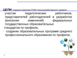 ЦЕЛИ создания отделения РУМО сельскохозяйственного профиля : участие педаго