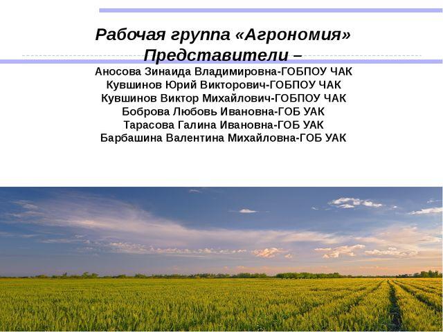 Рабочая группа «Агрономия» Представители – Аносова Зинаида Владимировна-ГОБПО...