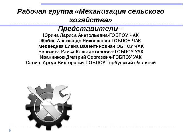 Рабочая группа «Механизация сельского хозяйства» Представители – Юрина Лариса...
