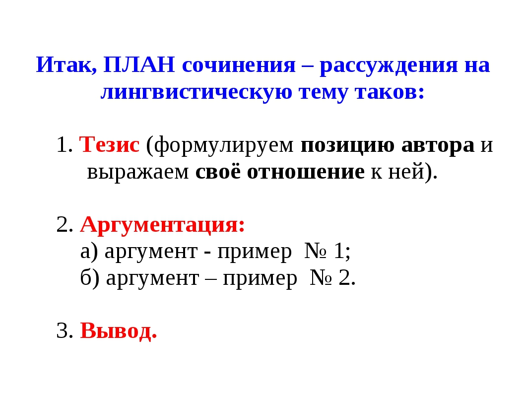 Итак, ПЛАН сочинения – рассуждения на лингвистическую тему таков: 1.Тезис(ф...