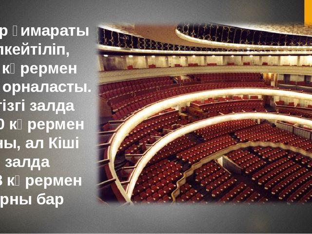 Театр ғимараты үлкейтіліп, екі көрермен залы орналасты. Негізгі залда 1840 кө...