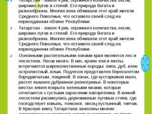Татарстан - земля 4 рек, огромного количества лесов, широких лугов и степей.