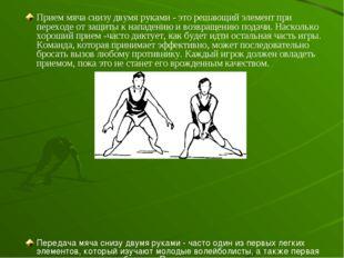 Прием мяча снизу двумя руками - это решающий элемент при переходе от защиты к