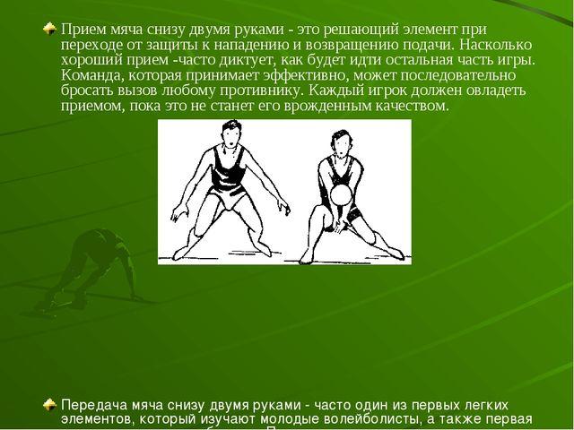 Прием мяча снизу двумя руками - это решающий элемент при переходе от защиты к...