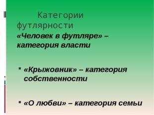 Категории футлярности «Человек в футляре» – категория власти «Крыжовник» – к