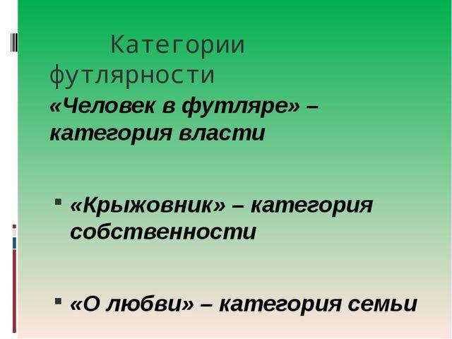 Категории футлярности «Человек в футляре» – категория власти «Крыжовник» – к...