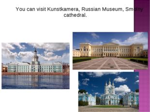You can visit Kunstkamera, Russian Museum, Smolny cathedral.