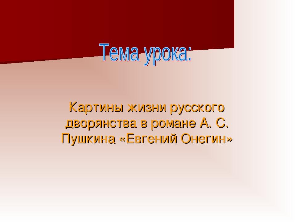 Картины жизни русского дворянства в романе А. С. Пушкина «Евгений Онегин»