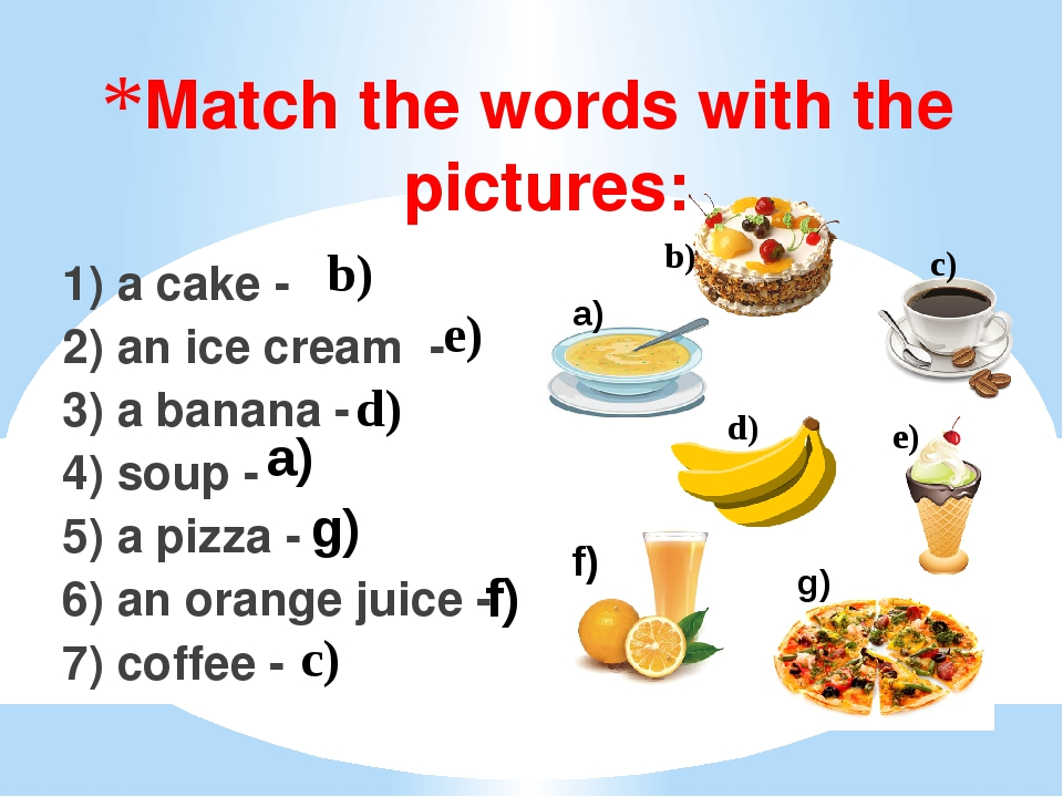 Match the words with the pictures:   1) a cake - 2) an ice cream - 3) a banan...