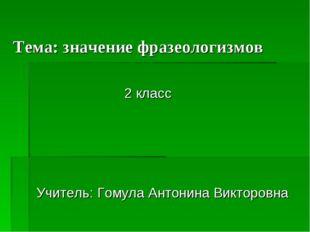 Тема: значение фразеологизмов 2 класс Учитель: Гомула Антонина Викторовна