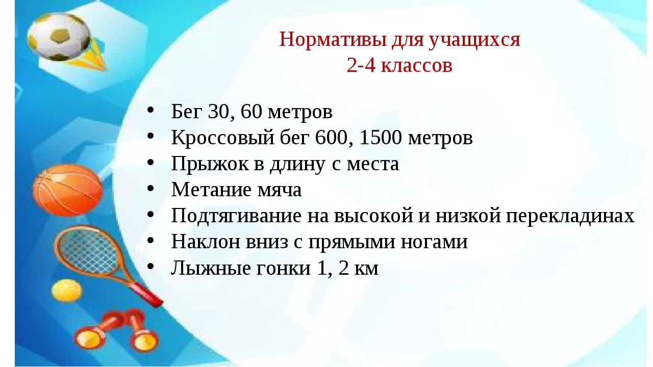 Бег 30, 60 метров Кроссовый бег 600, 1500 метров Прыжок в длину с места Метан...
