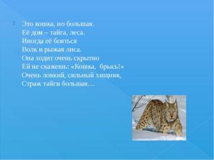 Это кошка, но большая. Её дом – тайга, леса. Иногда её бояться Волк и рыжая л