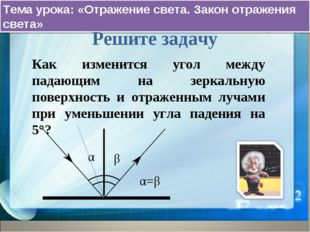 Тема урока: «Отражение света. Закон отражения света» Решите задачу Как измени