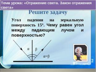 Тема урока: «Отражение света. Закон отражения света» Решите задачу Угол паден
