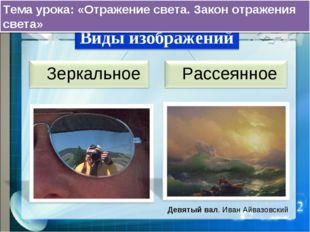Девятый вал. Иван Айвазовский Тема урока: «Отражение света. Закон отражения с