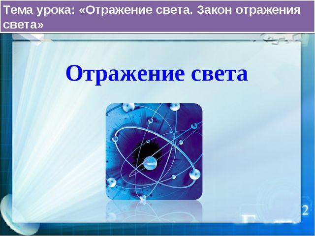 Отражение света Тема урока: «Отражение света. Закон отражения света»
