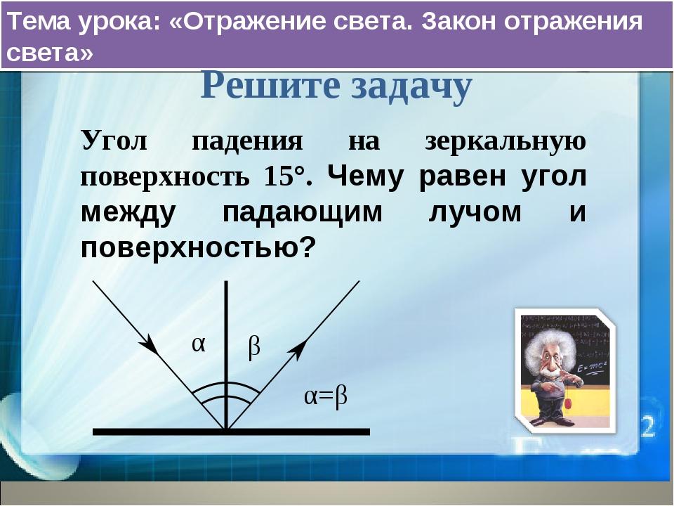 Тема урока: «Отражение света. Закон отражения света» Решите задачу Угол паден...