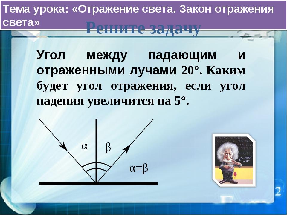 Тема урока: «Отражение света. Закон отражения света» Решите задачу Угол между...