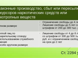 Ст. 2284 ук рф Незаконные производство, сбыт или пересылкапрекурсоровнаркотич