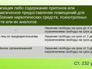 Ст. 232 ук рф Организациялибо содержание притонов или систематическое предост